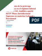 Tratamiento de La Prórroga Automática en El Régimen Laboral Especial CAS