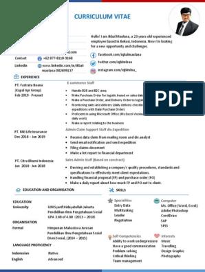 Cv Ikbal Maulana 2019 Updated Software Technology