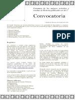 Convocatoria Mejores artículos y reseñas publicados en 2017
