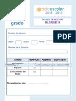 Examen Trimestral Segundo Grado Bloque III 2018-2019