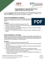 Convocatoria Estimulos y Apoyos Educativos May-Ago 2019
