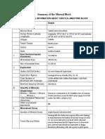 Andhra Pradesh Mine Block Summary Tadutla 2483