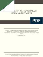 Manajemen Piutang Dalam Keuangan Syariah