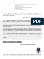 Security Threats to Wireless Networks and Modern Methods of Information Security
