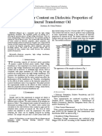Effects of Water Content on Dielectric Properties of Mineral Transformer Oil