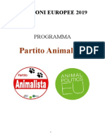 Programma Partito Animalista Elezioni Europee 2019