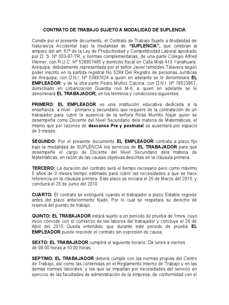 Contrato de trabajo de suplencia Contrato trabajo