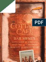 Cottage Cafe bar menu