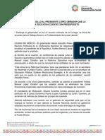 30-04-2019 PLANTEÓ ASTUDILLO AL PRESIDENTE LÓPEZ OBRADOR QUE LA REFORMA EDUCATIVA CUENTE CON PRESUPUESTO.