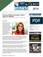 22-05-19 - EL DIARIO de SONORA - Promueve Gobierno Del Estado Talento Sonora en El Mundo