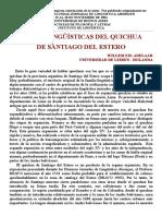 Raíces Lingüísticas Del Quichua de Santiago Del Estero