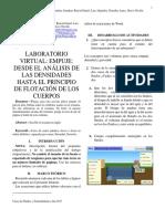 ANÁLISIS DE LAS DENSIDADES HASTA EL PRINCIPIO DE FLOTACIÓN DE LOS CUERPOS