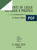 Thomas Hobbes, A Cura Di Arrigo Pacchi - Elementi Di Legge Naturale e Politica-La Nuova Italia (1968)