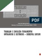 Aula Trabalho e Educacao Saviani