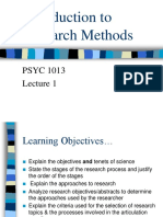 Lecture 1 - Psyc 1013
