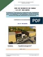 Informe de Reinicio de Obra Anta