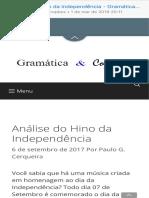Análise do Hino da Independência - Gramática e Cognição