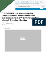 """""""Impera na esquerda 'reciclada' um cinismo assombroso"""" Entrevista José Paulo Netto – ENESSO"""