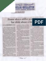 Manila Bulletin May 20, 2019, House okays stiffer penalties for child abuse crimes.pdf
