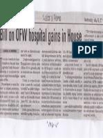 Manila Bulletin, May 29, 2019, Bill on OFW hospital gains in House.pdf