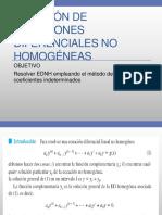 Solución de Ecuaciones Diferenciales No Homogéneas