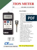 Vibration Meter Lutron spec sheet