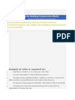 Analysis of Rates for Building Construction Works