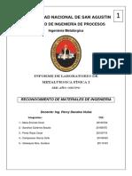 Reporte Primer Parcial metalúrgica física UNSA