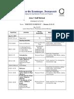 Area 1 Staff Retreat Program of Activities
