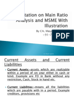 Presentation on Main Ratio Analysis and MSME With Illustration