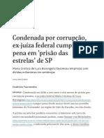 Condenada Por Corrupção, Ex-juíza Federal Cumpre Pena Em 'Prisão Das Estrelas' de SP