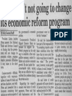 CAP- Gov't is Not Going to Change Its Economic Reform Program - The Daily Journal 20.11.1989