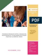 PROGRAMA DE PREVENCIÓN CONTRA LA DROGADICCIÓN EN ESTUDIANTES DE 4TO DE SECUNDARIA DE UN COLEGIO PUBLICO DE VILLA MARÍA DEL TRIUNFO