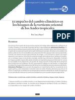 Impacto Del Cambio Climatico en Bosques Vertiente Oriental de Los Andes