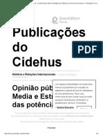 História e Relações Internacionais - Opinião Pública, Media e Estratégia Das Potências Nas Democracias Modernas - Publicações Do Cidehus