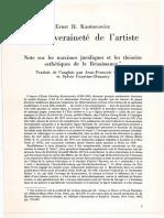 Ernst H. Kantorowicz - La Souveraineté de l'Artiste