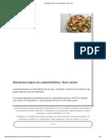 Alimentos Bajos en Carbohidratos_ Qué Comer