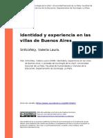 Snitcofsky, Valeria Laura (2008). Identidad y Experiencia en Las Villas de Buenos Aires