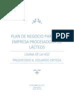 Plan de Negocio Para Una Empresa Procesadora de Lácteos
