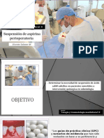 Suspensión de ácido acetilsalicilico (Aspirina) preoperatoria