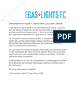 Lights FC Statement