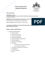 Temario Examen de Admision Medicina 2018