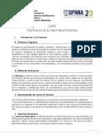 1. Clase - Importancia de La Matemática Financiera