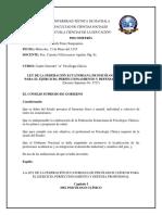Ley de La Federación Ecuatoriana de Psicologos Clínicos