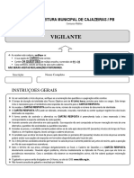 Prova Concurso Prefeitura de Cajazeiras 2019 - Vigilante