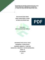 Análisis de Los Indicadores de Gestión Cuantitativos Del Plan de Gestión de Resultados de La Empresa de Acueducto