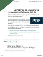 Se as ventoinhas do Mac girarem em velocidade máxima ao ligá-lo - Suporte da Apple