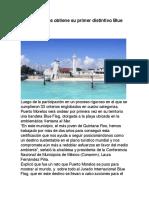 Puerto Morelos Obtiene Su Primer Distintivo Blue Flag