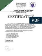 Ecd Certification for Kinder 2018 2019