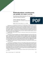 Bartolomé Clavero - Multiculturalismo Constitucional, Con Perdón, De Veras y en Frío.